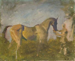 Alfred James Munnings - a 馬 と一緒に a `groom`
