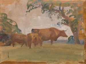 Alfred James Munnings - の研究 牛
