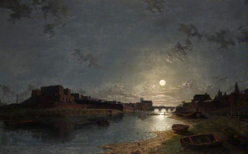 チェスター 城  で  月光  バイ Henry Pether (1828-1865, United Kingdom) | WahooArt.com
