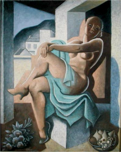 裸体 教会に 日 バイ Jean Dominique Antony Metzinger (1883-1956, France)
