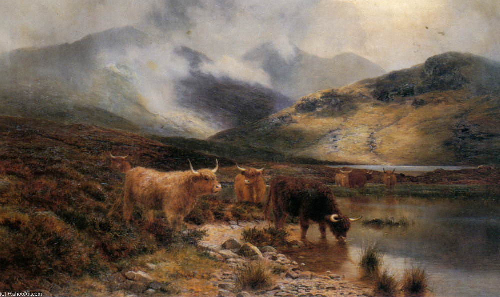 Argyllshire 湖 の間 シャワー バイ Louis Bosworth Hurt (1856-1929, United Kingdom)