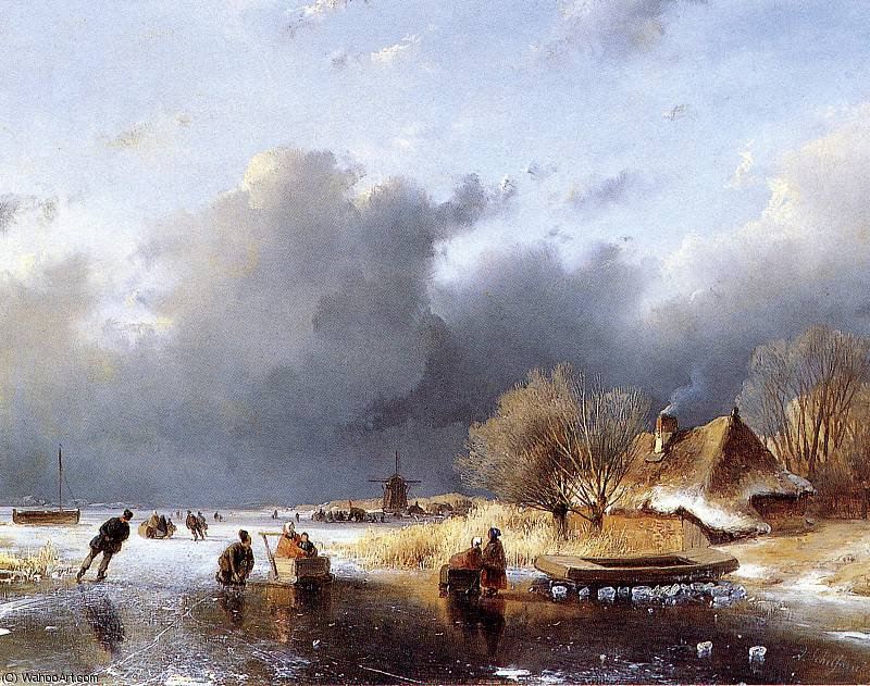 Scaters 川 近い ファーム 日 バイ Andreas Schelfhout (1787-1870, Netherlands)