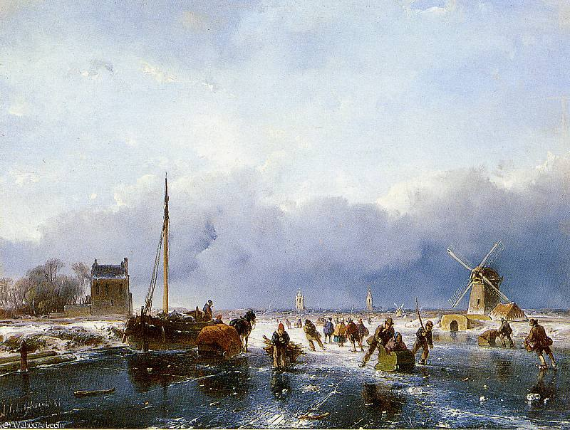 Scaters 川 日 バイ Andreas Schelfhout (1787-1870, Netherlands) | WahooArt.com