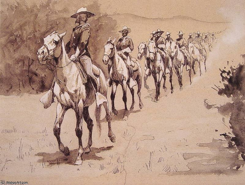 砂漠で バイ Frederic Remington (1861-1909, United States)