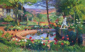 Henri Jean Guillaume Martin - の噴水 ザー 公園 マルケイロール 別名 バッサン デュ パルク エン マルケイロール