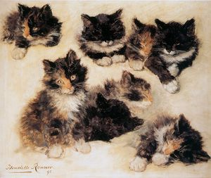 Henriette Ronner Knip - 子猫の太陽