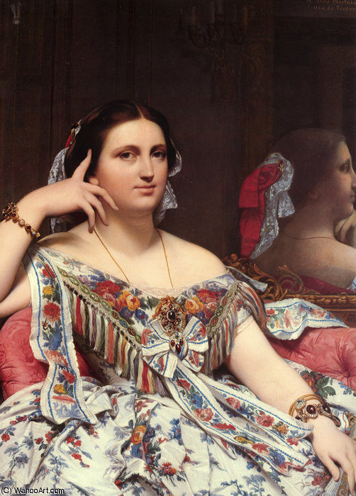 着席マダムのmoitessier(詳細) バイ Jean Auguste Dominique Ingres (1780-1867, France)