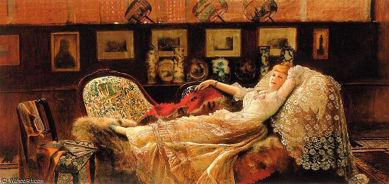 日の夢 バイ John Atkinson Grimshaw (1836-1893, United Kingdom)