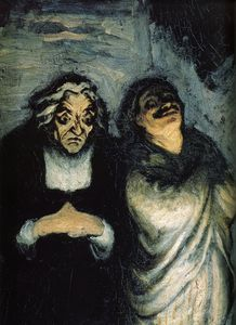 Honoré Daumier - シーンアンActeursのcomiques、シーン内のhuileシュールpanneauコミック俳優、パネル上のオイル