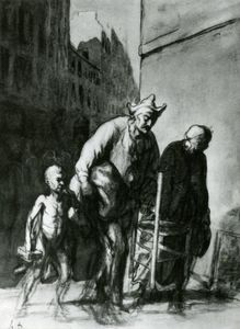 Honoré Daumier - レ Déplacement デ saltimbanques , フュザン クレヨン ら estompe . . . ザー 変位 の 旅 アクロバット , 木炭 鉛筆と stumpjpg