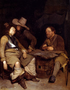 Gerard Ter Borch The Younger - 兵士 吹き出し で煙 ザー 顔 彼の 睡眠 コンパニオン