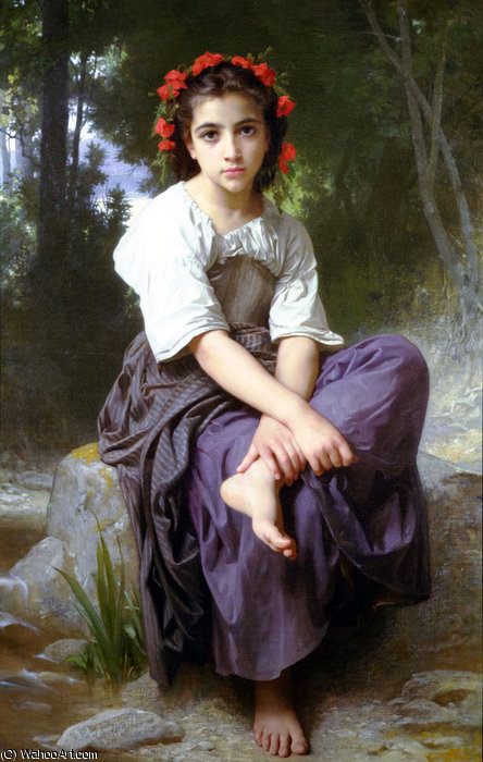 金ボルドデュruisseau バイ William Adolphe Bouguereau (1825-1905, France)