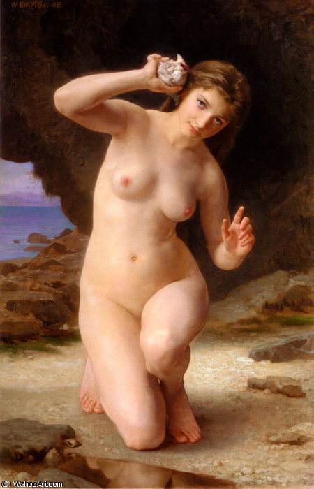 femmeaucoquillage, 1885 バイ William Adolphe Bouguereau (1825-1905, France)