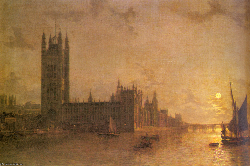 westminister橋の建設と国会議事堂修道院ウェストミンスター バイ Henry Pether (1828-1865, United Kingdom) | WahooArt.com