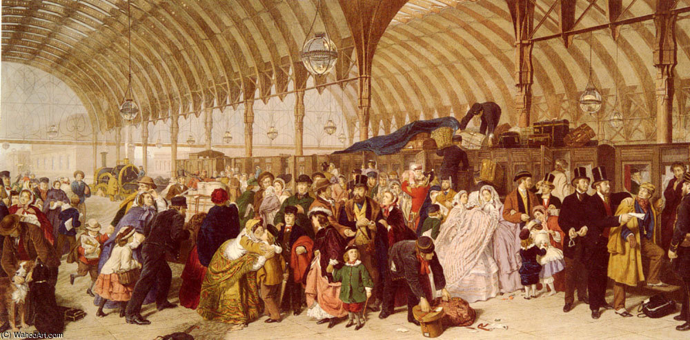 鉄道駅 バイ William Powell Frith (1819-1909, United Kingdom)