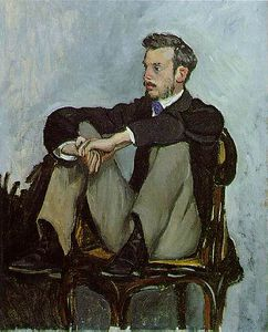 Jean Frederic Bazille - の肖像画 Pierre-Auguste ルノアール , に油絵 canv