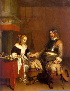 Gerard Ter Borch The Younger - 兵士 募集  若い  女性  コイン  ルーブル美術館