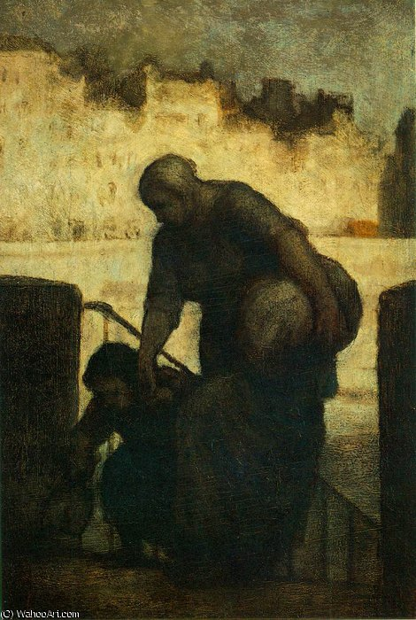 Laveuse auの ケ d'Anjou , c言語 . 木に油絵 パネル ,, 1860 バイ Honoré Daumier (1808-1879, France) | WahooArt.com