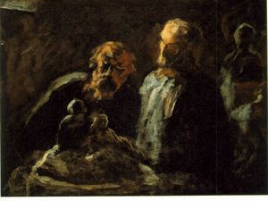 Honoré Daumier - 二つの彫刻家 , 日付のありません , 木に油絵 , 11 バツ 14 in_ ザー