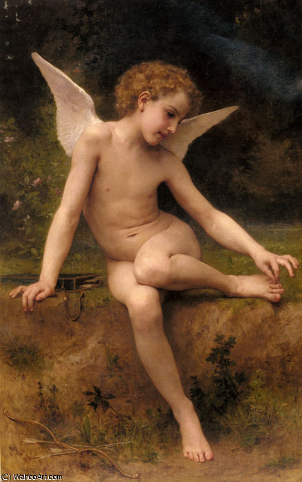 L'Amour A L'Epine バイ William Adolphe Bouguereau (1825-1905, France)