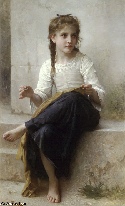 ラ couturière バイ William Adolphe Bouguereau (1825-1905, France)