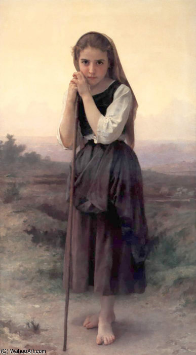 小柄ベルジェール バイ William Adolphe Bouguereau (1825-1905, France)