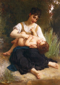 William Adolphe Bouguereau - ザー 喜び の 母性 ( ガールくすぐり 子供 )