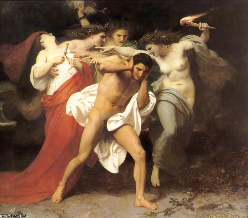 オレステスの後悔 バイ William Adolphe Bouguereau (1825-1905, France)