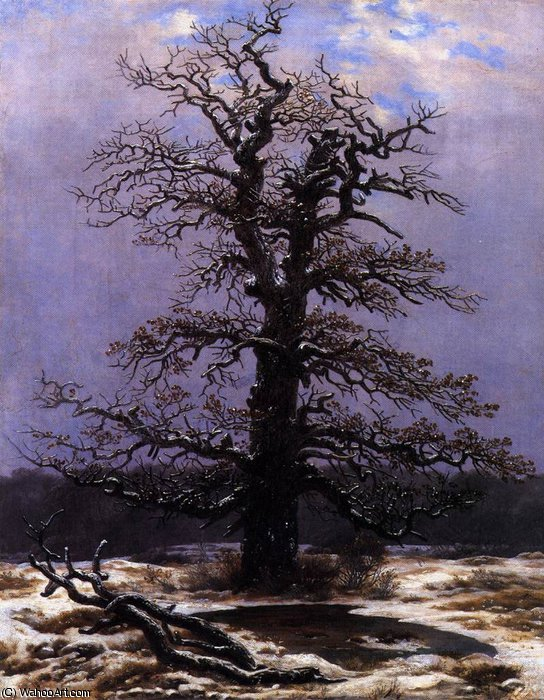 教会に スノー , 1825 バイ Caspar David Friedrich (1774-1840, Germany)