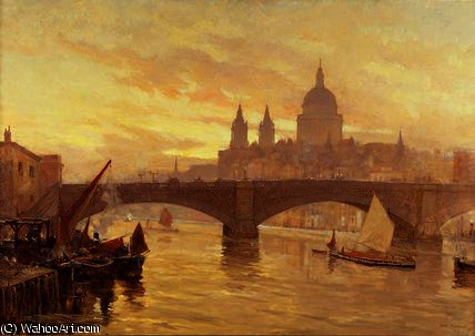 サザーク 橋  バイ Herbert Menzies Marshall (1841-1913, United Kingdom)