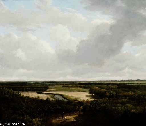 A パノラマの 森のある風景 インチ 夏 バイ Andreas Schelfhout (1787-1870, Netherlands)