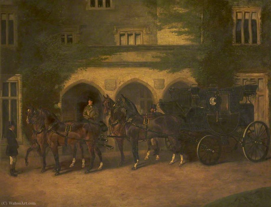 四頭立ての馬車 バイ John Alfred Wheeler (1821-1903, United Kingdom)