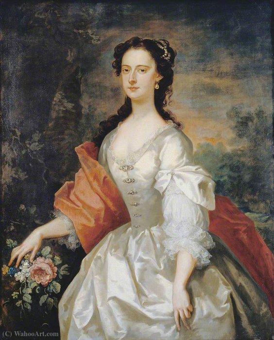 白衣の女の肖像 バイ John Vanderbank (1694-1739, United Kingdom)