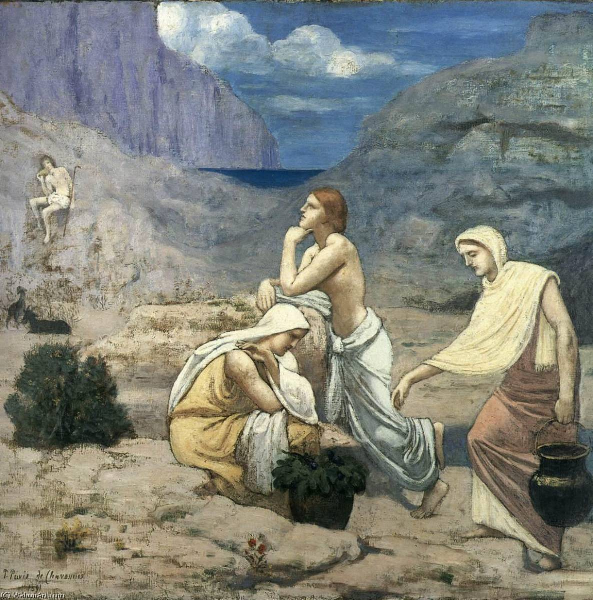 ザー Shepherd`s 歌, 1891 バイ Pierre Puvis De Chavannes (1824-1898, France) | 絵画の複製 | WahooArt.com