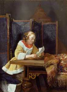 Gerard Ter Borch The Younger - A 女性 読書 a 文字