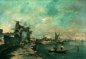 Francesco Lazzaro Guardi - 海岸 シーン