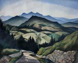 Christopher Richard Wynne Nevinson - 山 景観  インチ  ウェールズ