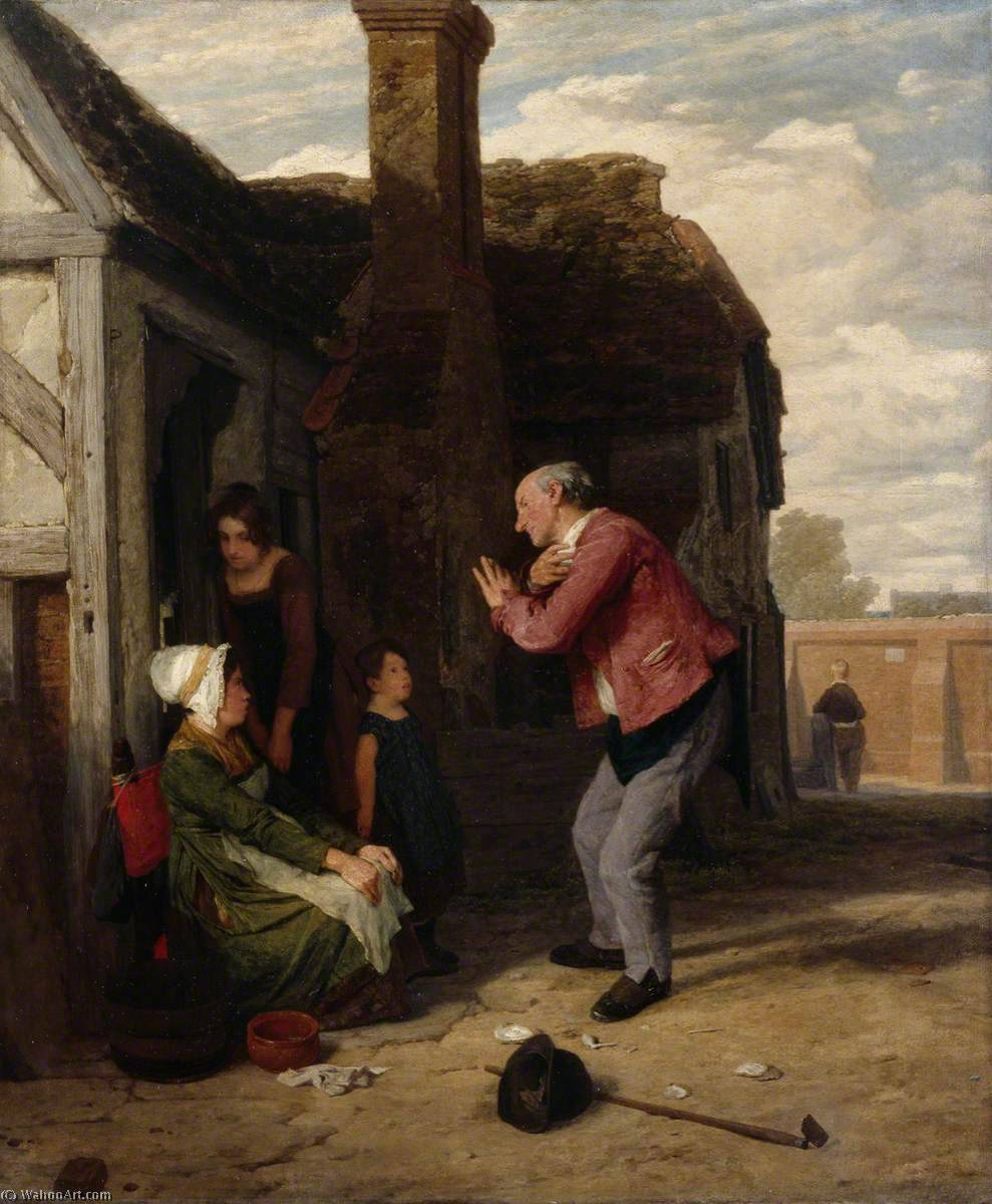 ザー 村 道化師 , 1816 バイ William Mulready The Younger (1786-1863, Ireland) | 「アート再現 William Mulready The Younger | WahooArt.com