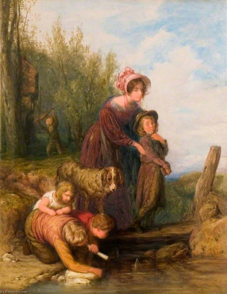 A セーリング 一致, パネルに油絵 バイ William Mulready The Younger (1786-1863, Ireland)