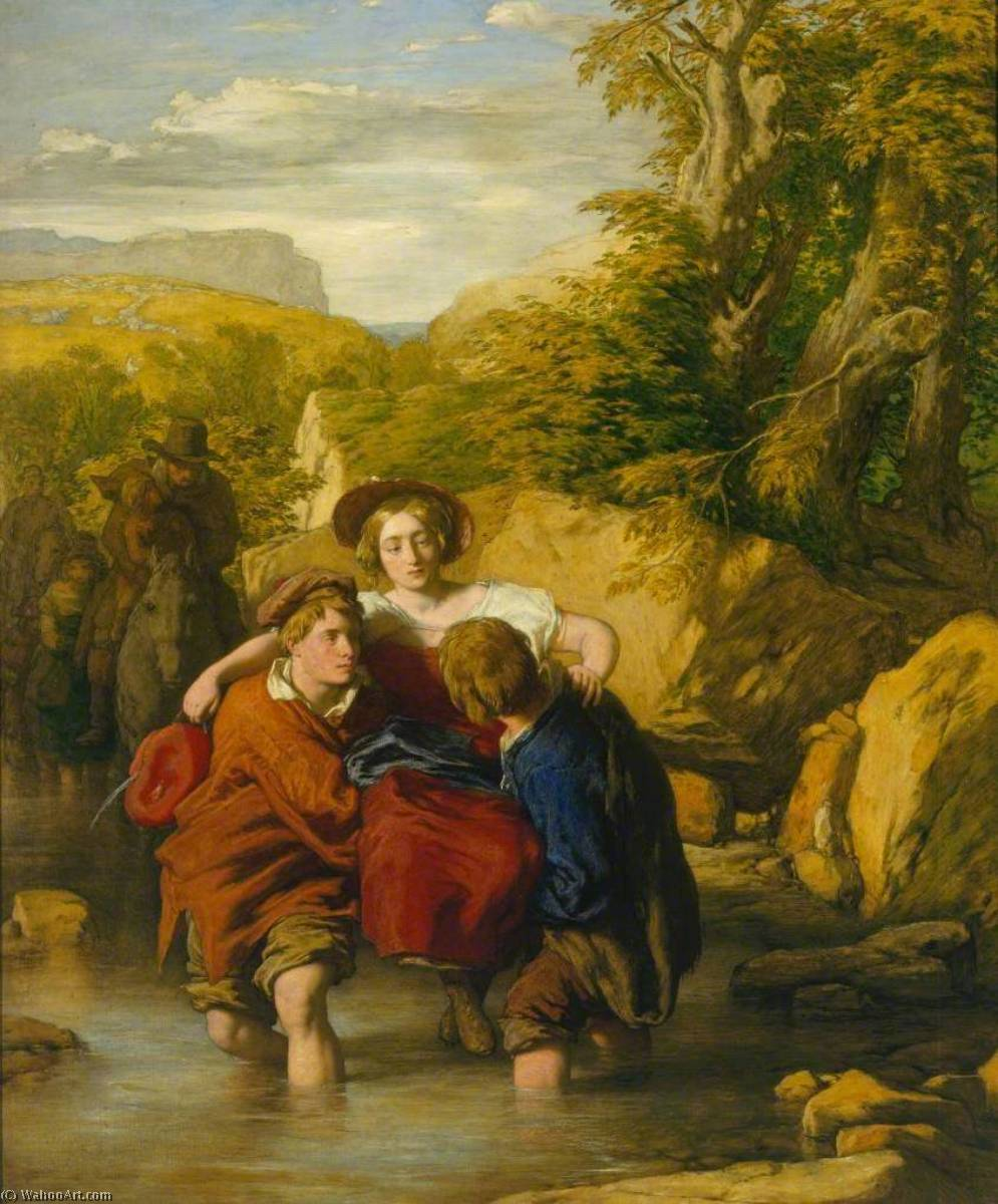 フォード ( 'Crossing ザー Ford' ), オイル バイ William Mulready The Younger (1786-1863, Ireland)