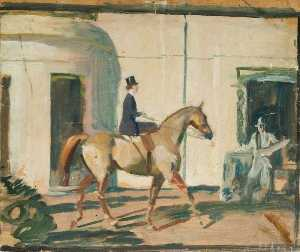 Alfred James Munnings - 以下のための研究 'Our 相互 友人 ザー Horse' ( 右ページ )