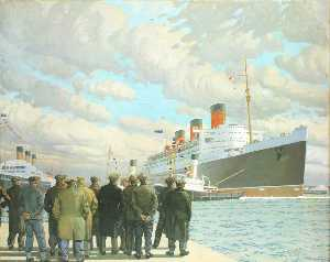 Charles Pears - ザー 旅客 ライナー 'Queen Mary' 到着 サザンプトンで , 27 月 1936