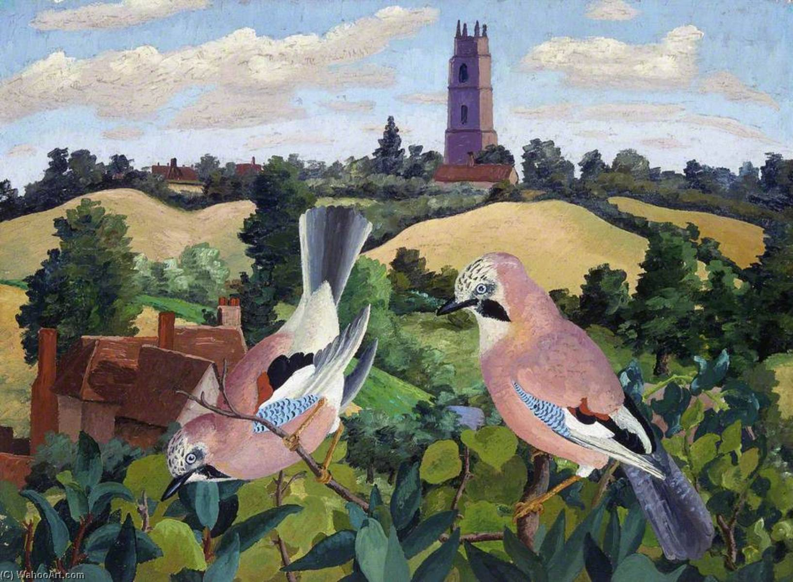ストーク で  ネイランド  教会 , 1940 バイ Cedric Lockwood Morris (1889-1982, United Kingdom) | WahooArt.com
