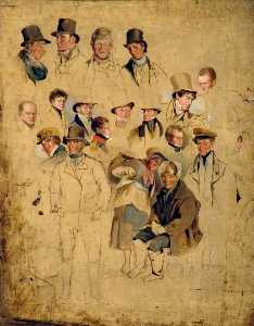 Henry Perlee Parker - 似顔絵 から 'The Cullercoats Party'