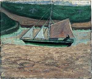 Alfred Wallis - ヨット ピンク  と  緑  裏面