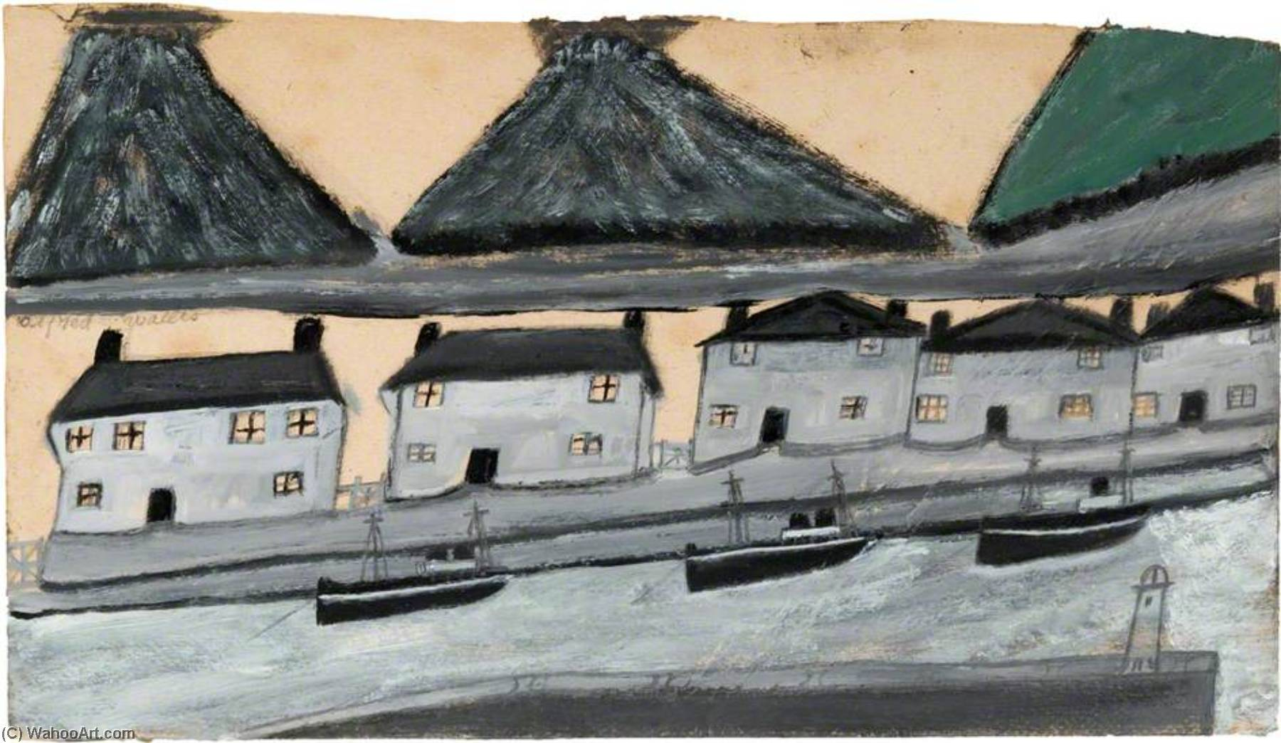 住宅や 窯  バイ Alfred Wallis (1855-1942, United Kingdom) | WahooArt.com