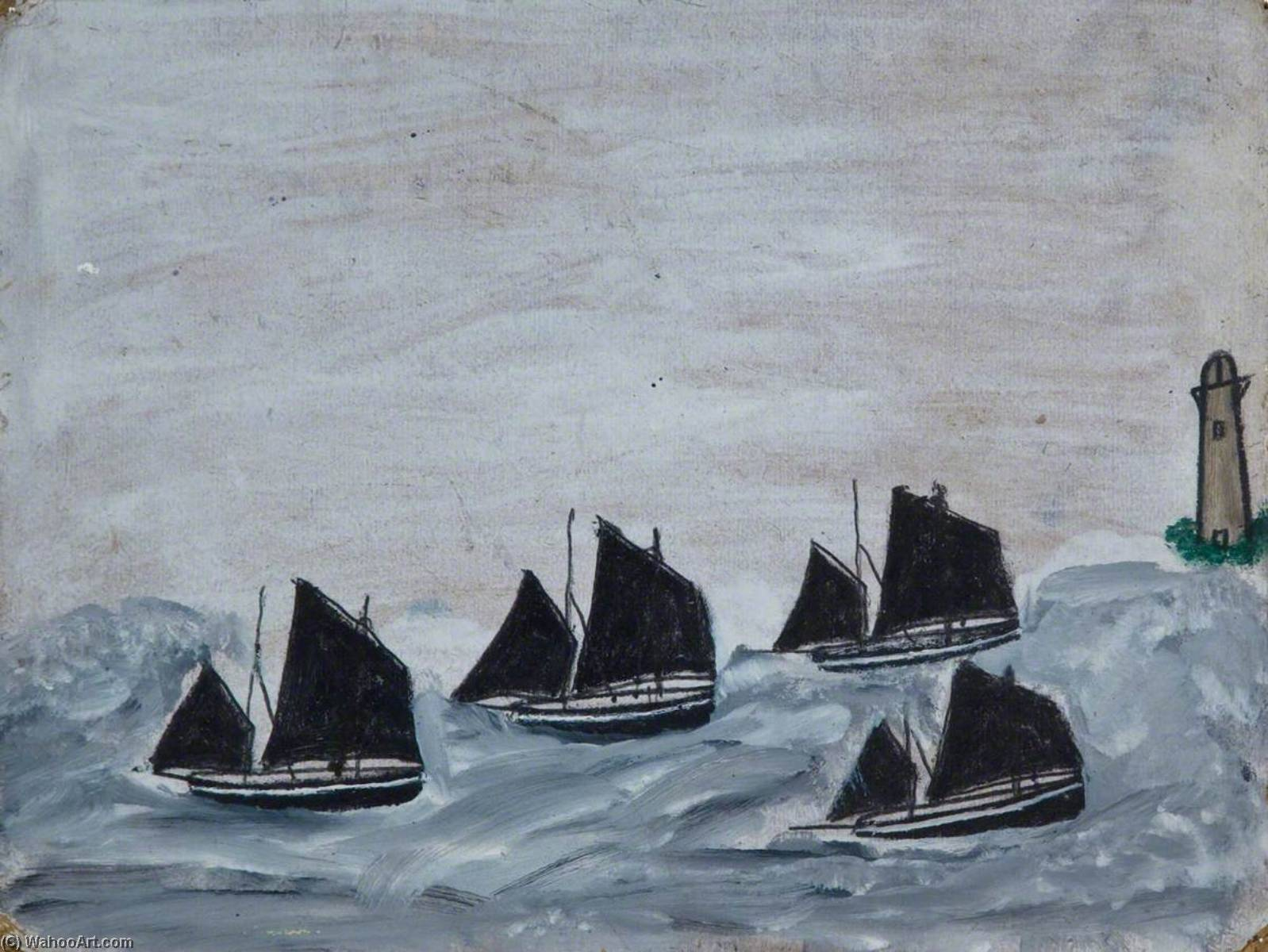 四つ ボート で 灯台 バイ Alfred Wallis (1855-1942, United Kingdom) | WahooArt.com