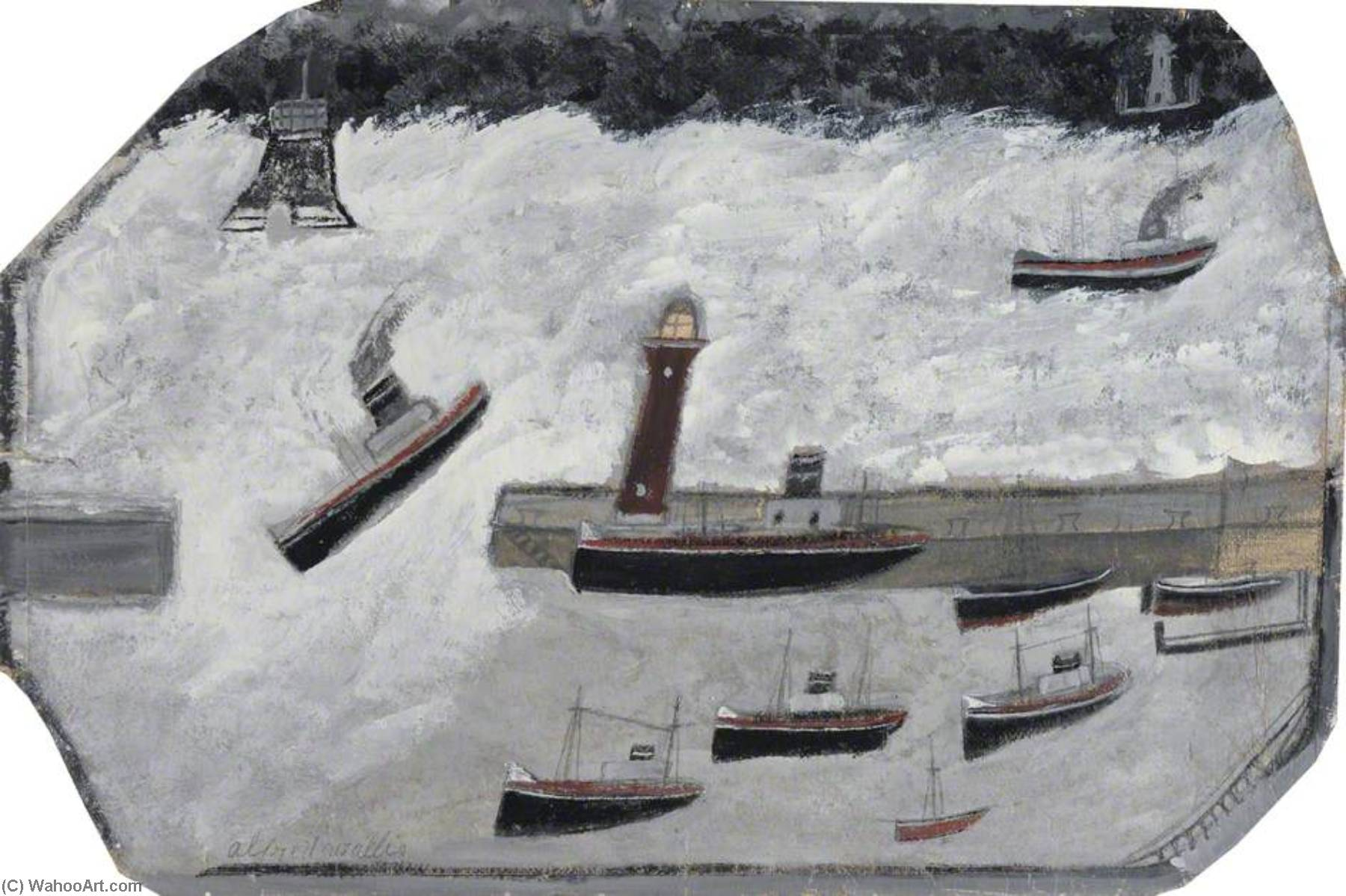 ペンザンス ハーバー  バイ Alfred Wallis (1855-1942, United Kingdom) | WahooArt.com