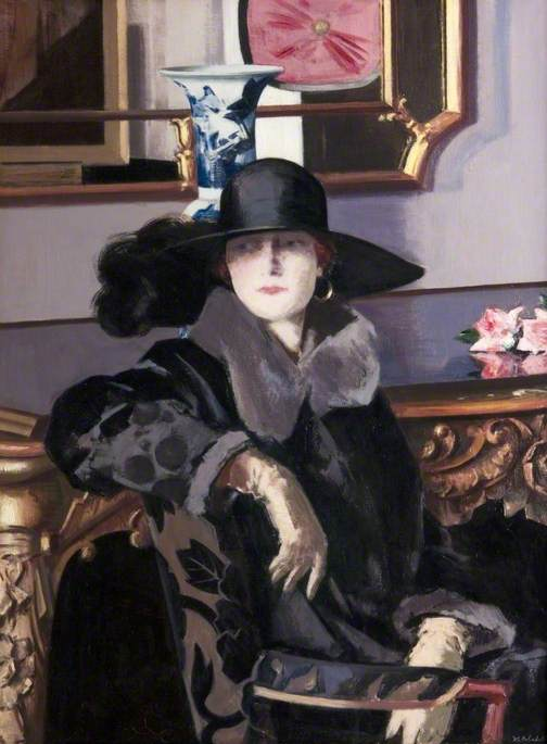 A 女性 インチ 黒, キャンバス年石油 バイ Francis Campbell Boileau Cadell (1883-1937)