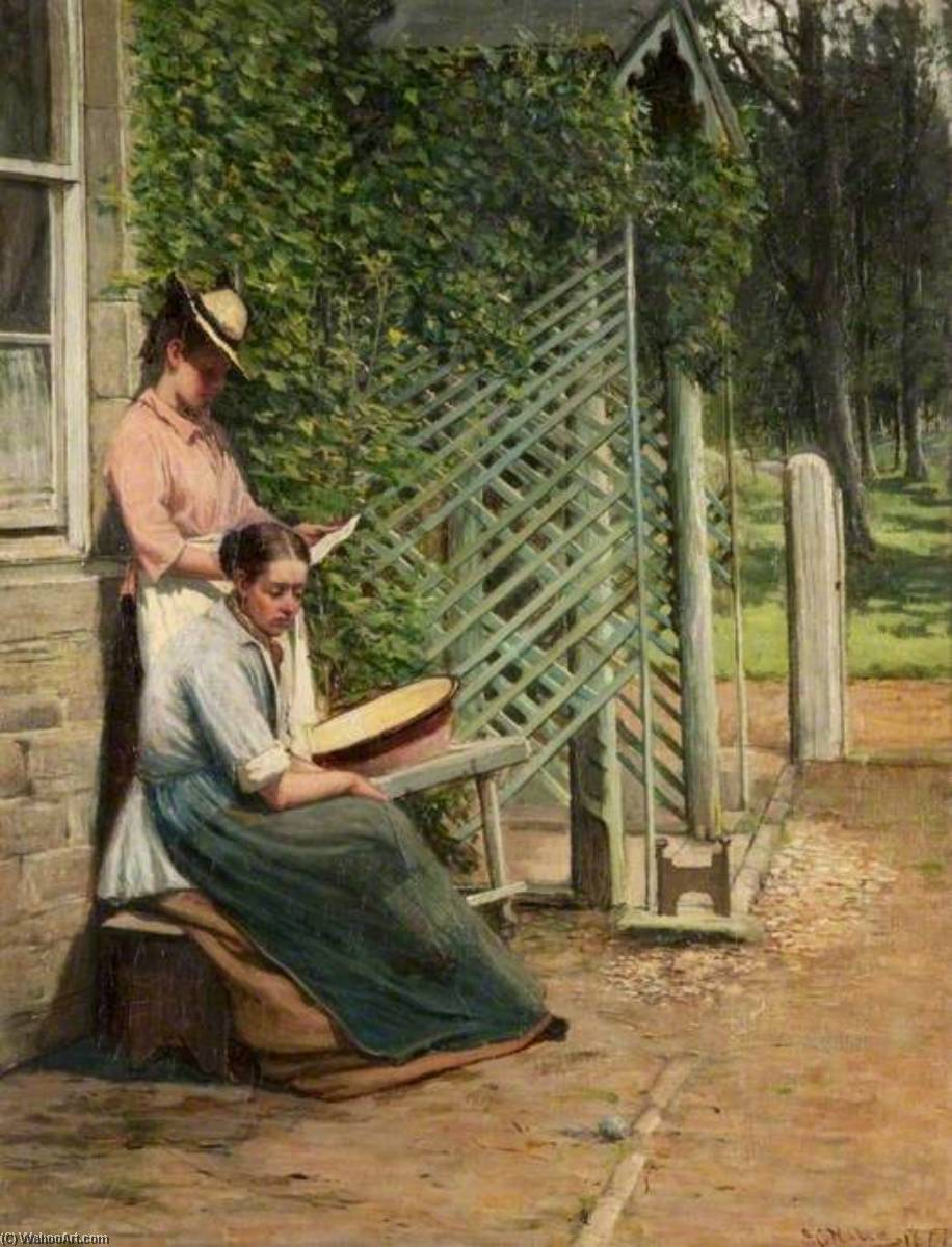 A 勉強, 1877 バイ James Campbell Noble | 油絵 James Campbell Noble | WahooArt.com